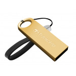 Transcend JetFlash 520, 64 Gb, Gold, Metal Case, Key Ring