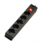 Sven Optima Base, 5 Sockets, 3.0m, BLACK flame-retardant material